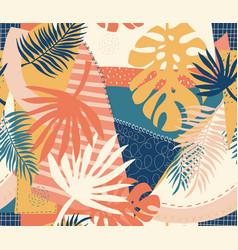 modern exotic jungle plants pattern vector image