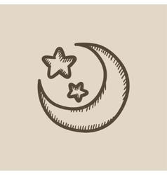 Moon and stars sketch icon vector image