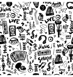 Music symbols funny hand drawn seamless pattern vector image