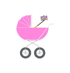 Newborn baby doing selfie right out of the pram vector
