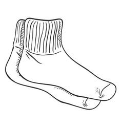 outline sketch - sport socks vector image