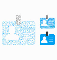 Person badge mesh wire frame model and vector