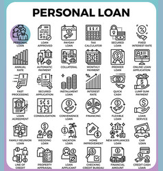 Personal loan icons vector