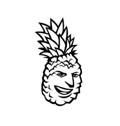 Pineapple fruit or ananas comosus happy smiling vector