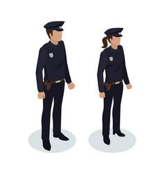 policewoman and policeman vector image