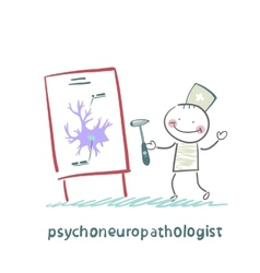 Psychoneuropathologist holds the hammer and says a vector