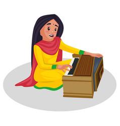 Punjabi girl singer cartoon vector