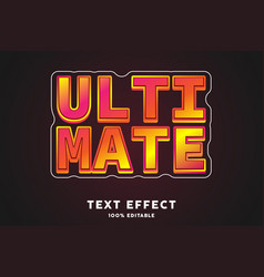 Red glossy ultimate text style effect vector