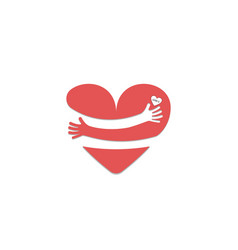 red heart shape with hand embracehug yourself vector image
