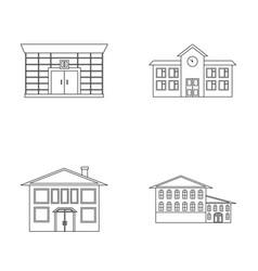 Residential building bank school hotelbuilding vector