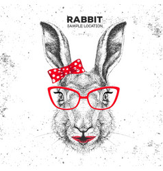 retro hipster animal rabbit hand drawing muzzle vector image