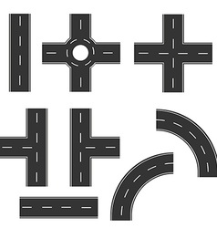 Road elements set vector image