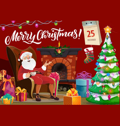 santa claus and fireplace merry christmas wish vector image