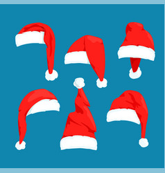 santa claus red hats set vector image