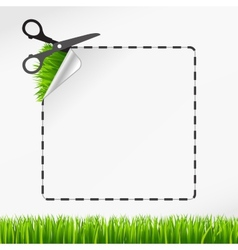 Scissors cut sticker Green grass vector