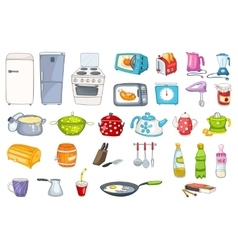 Set of household appliances and kitchenware vector image