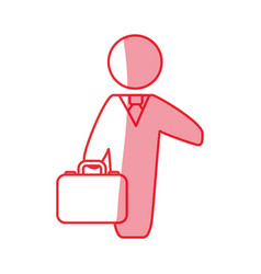 Silhouette businessman with suit and briefcase vector