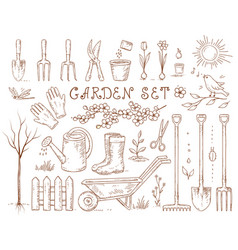 Spring hand drawn garden tools set vector
