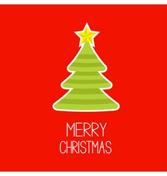 Striped christmas tree merry christmas card vector