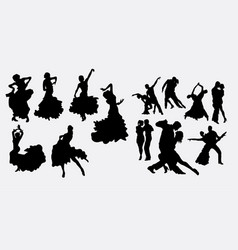 tango couple and latin dancer silhouettes vector image