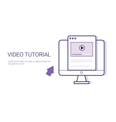 Video tutorial online education business concept vector