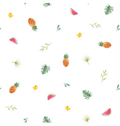 watercolor tropical pineapple pattern vector image