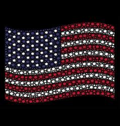 Waving american flag stylization of bang icons vector