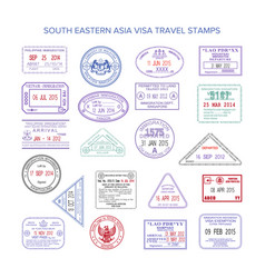 Western europe color travel visa stamps set vector