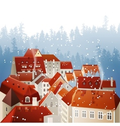 Winter city landscape vector image
