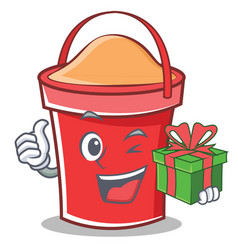 With gift bucket character cartoon style vector