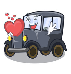 With heart old cartoon car in side garage vector