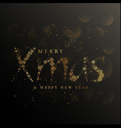 xmas lettering made with golden snowflakes vector image vector image