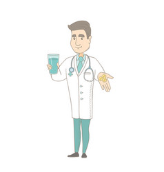 Young pharmacist giving pills and glass of water vector