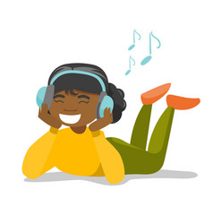 young woman in headphones listening to music vector image