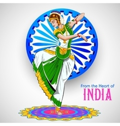 Female dancer dancing on indian background showing vector