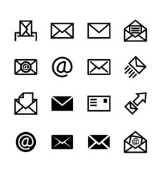 Mail icons set of 16 e-mail symbols vector image vector image