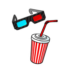 Cinema objects - 3d glasses and soda water in vector