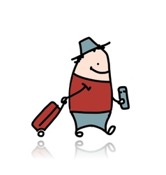 Man with suitcase and ticket cartoon vector image