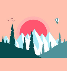 sunset the mountains vector image