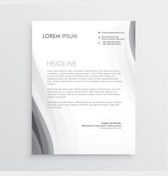 elegant gray wave letterhead abstract design vector image