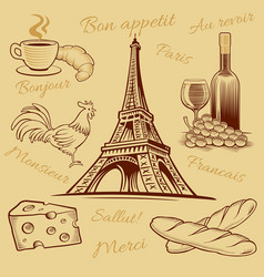 France food croissant wine cheese eiffel tower vector
