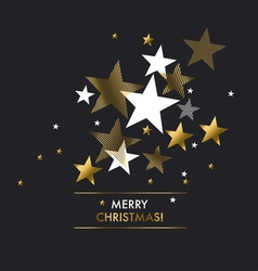 Merry christmas with gold stars greeting vector image vector image