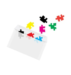 puzzles in envelope concept vector image vector image