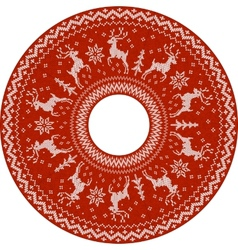 Red knitted deers circle pattern vector image