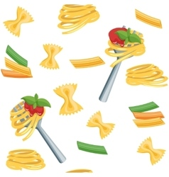Seamless cartoon background with pasta vector