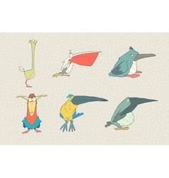 Set of cute cartoon bird isolated on white vector image