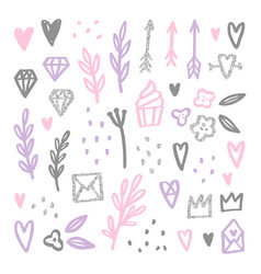 set of love romantic design elements vector image vector image