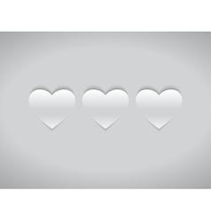 Three White Hearts vector image vector image