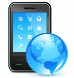 global business on phone vector image vector image