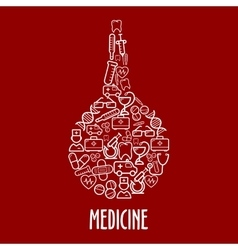 Medical icons arrange in a shape of enema vector image vector image